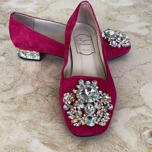 RARE Roger Vivier Suede & Crystals Ballerina Heels
